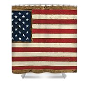 Old Glory Displayed On Wood Shower Curtain