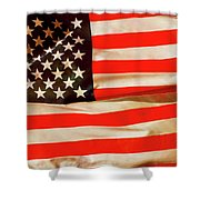 Old Glory Flag In Breeze Shower Curtain