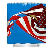 Old Glory Flying Shower Curtain
