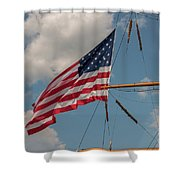Old Glory Flying Over Eagle Shower Curtain