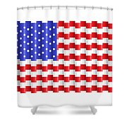 Pixilated Old Glory Shower Curtain