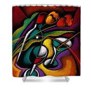 Wine And Flowers Shower Curtain