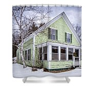 Old Green And White New Englander Home Shower Curtain