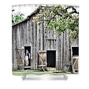 Old Grey Barn With Vistors Shower Curtain