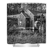 Old Grist Mill In Vermont Black And White Shower Curtain