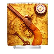 Old Gun On Old Map Shower Curtain by Garry Gay