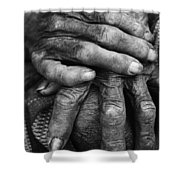 Old Hands 3 Shower Curtain