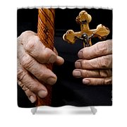 Old Hands And Crucifix  Shower Curtain