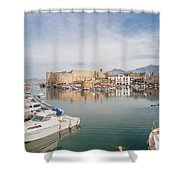 Old Harbour Of  Kyrenia, In Cyprus Shower Curtain