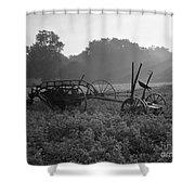 Old Hay Baler In Misty Field Shower Curtain