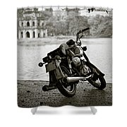 Old Honda In Hanoi Shower Curtain