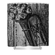 Old Horn And Roses On Door Black And White Shower Curtain