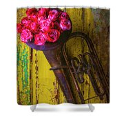 Old Horn And Roses On Door Shower Curtain