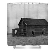 Old House And Windmill North Dakota  Shower Curtain