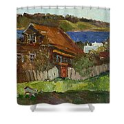 Old House By The River Shower Curtain