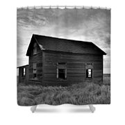 Old House In A Barren Field Shower Curtain