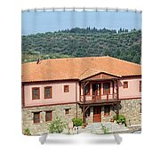 old house Sithonia Greece summer vacation scene Shower Curtain