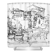 Old Houses And Boats Shower Curtain