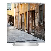Old Houses On Narrow Street In Villefranche-sur-mer Shower Curtain