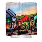 Old Irish Town The Dingle Peninsula At Sunset Shower Curtain
