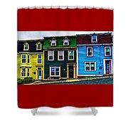 Old Jellybean Row Houses Shower Curtain