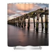 Old Jetty Near Castlerock Shower Curtain