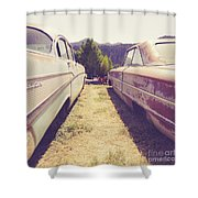 Old Junkyard Cars Chevy And Ford Utah Shower Curtain