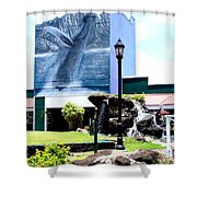Old Kauai Village Clock Tower Shower Curtain