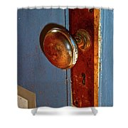 Old Knob On Blue Door Shower Curtain