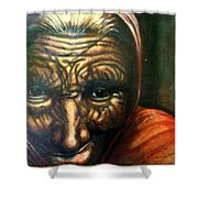 Old Lady - Map Of Life Shower Curtain