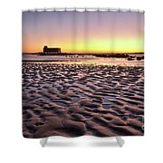 Old Lifesavers Building Covered By Warm Sunset Light Shower Curtain