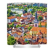 Old Ljubljana Cityscape Aerial View Shower Curtain