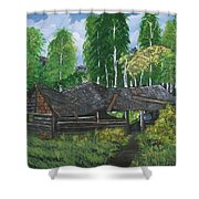 Old Log Cabin And   Memories Shower Curtain