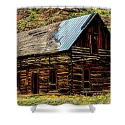 Old Log Cabin-barn Shower Curtain