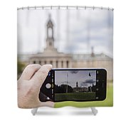 Old Main Through Iphone  Shower Curtain