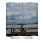 Old Man And His Dog Shower Curtain