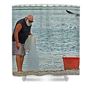 Old Man And The Net Shower Curtain