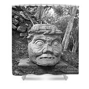 Old Man Of Copan Sculpture, Also Known As The Pauahtun Head From Shower Curtain