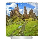 Old Man Of Storr Pinnacles Shower Curtain