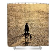 Old Man Paddling Into The Sunset Shower Curtain