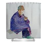 Old Man Smoking Shower Curtain