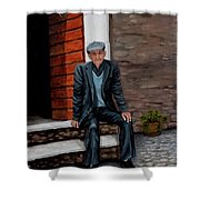 Old Man Waiting Shower Curtain