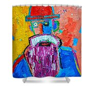 Old Man With Red Bowler Hat Shower Curtain