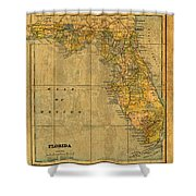 Old Map Of Florida Vintage Circa 1893 On Worn Distressed Parchment Shower Curtain