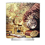 Old Maps And Ink Well Shower Curtain