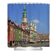Old Marketplace And The Town Hall Poznan Poland Shower Curtain
