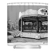 Old Mesilla Plaza And Gazebo Shower Curtain by Jack Pumphrey