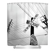 Old Midwest Railroad Warning Crossing Sign And Stop Sign At Dawn Shower Curtain
