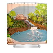 Old Mill And Falls Shower Curtain