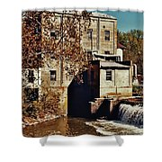 Old Mill In Autumn Shower Curtain